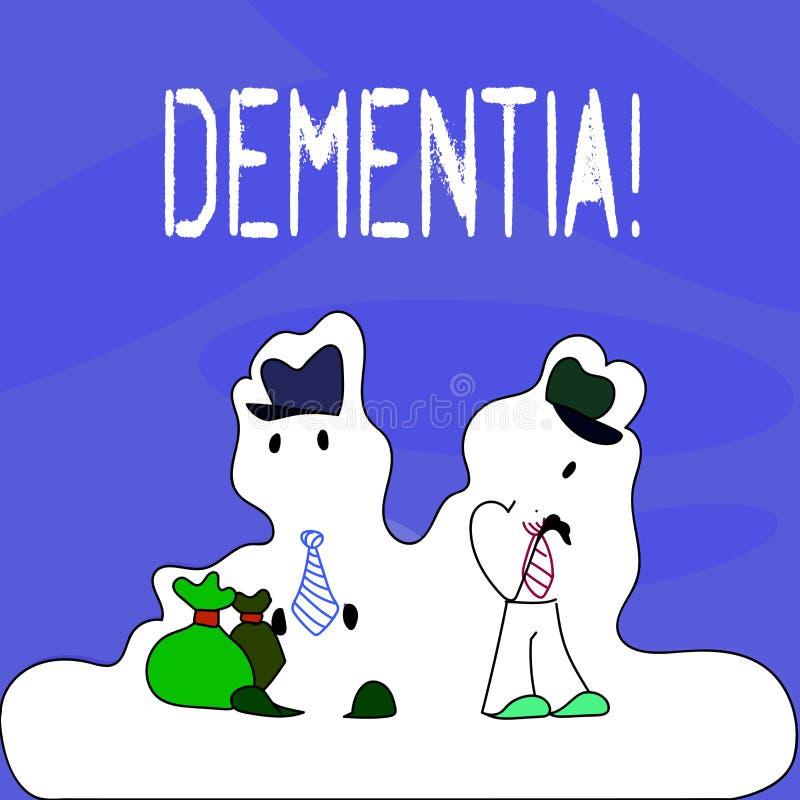 Begreppsmässig demens för handhandstilvisning Gjorde tecknet och tecken för förlust för långsiktigt minne för affärsfototext mig  stock illustrationer
