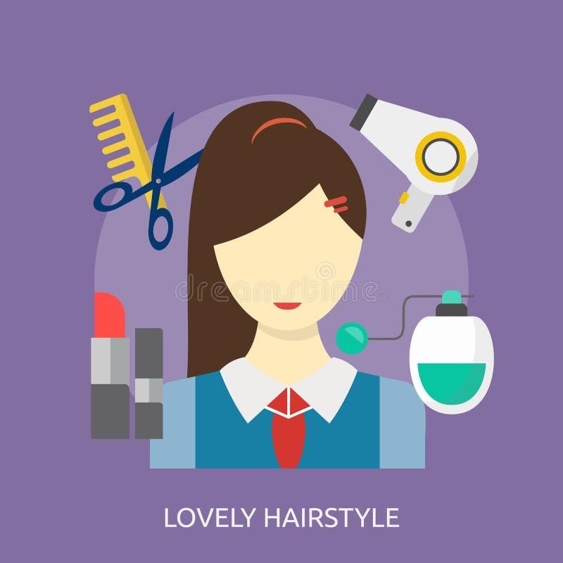 Begreppsmässig design för älskvärd frisyr royaltyfri illustrationer