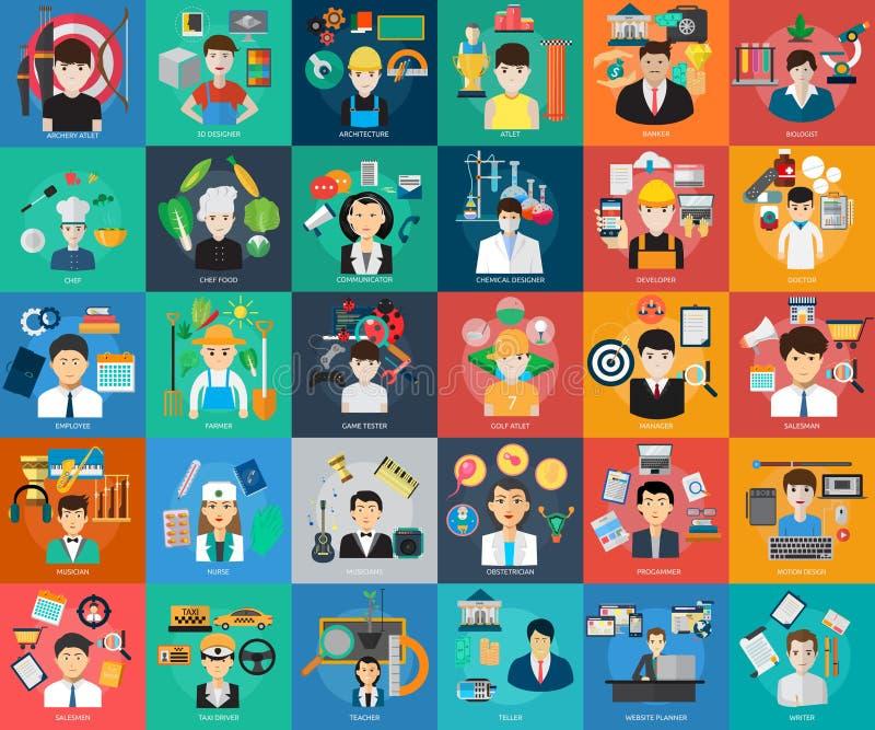 Begreppsmässig design för mänskligt yrke stock illustrationer