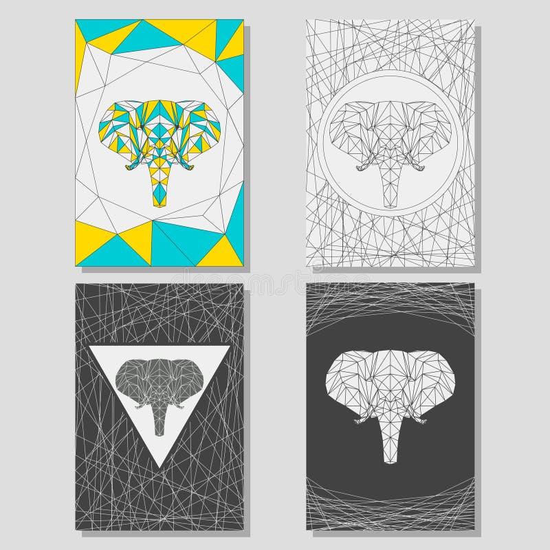 Begreppsmässig diagramuppsättning med den geometriska elefanten för bruk i designen för kort, affisch, baner, plakat, broschyrer  stock illustrationer