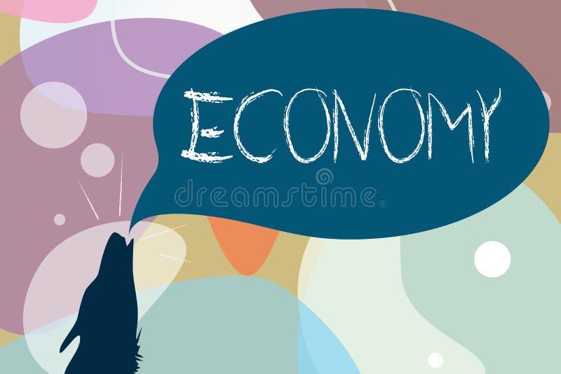 Begreppsmässig ekonomi för handhandstilvisning Ledning för affärsfototext av information om redovisning för finansiella resurser royaltyfri illustrationer