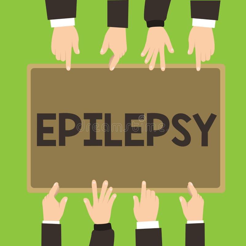 Begreppsmässig epilepsi för handhandstilvisning Affärsfoto som fjärde ställer ut mest gemensamt oförutsägbart beslag för neurolog royaltyfri illustrationer