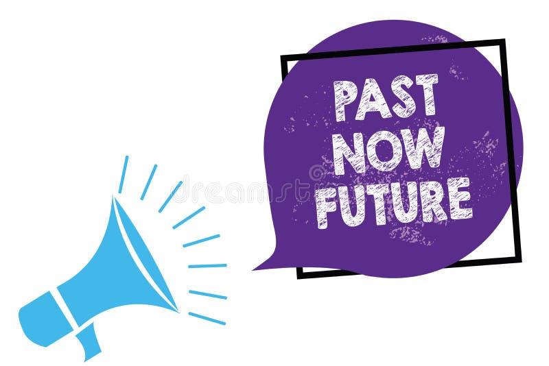 Begreppsmässig för handhandstilvisning för forntid framtid nu Åtgärdar följa för sista gången för affärsfototext närvarande Desti royaltyfri illustrationer