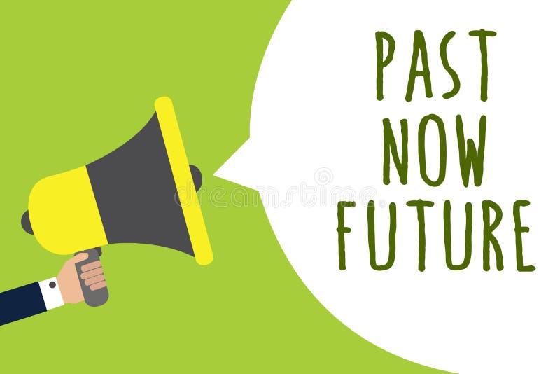 Begreppsmässig för handhandstilvisning för forntid framtid nu Affärsfotoet som ställer ut närvarande följa för sista gången, åtgä stock illustrationer