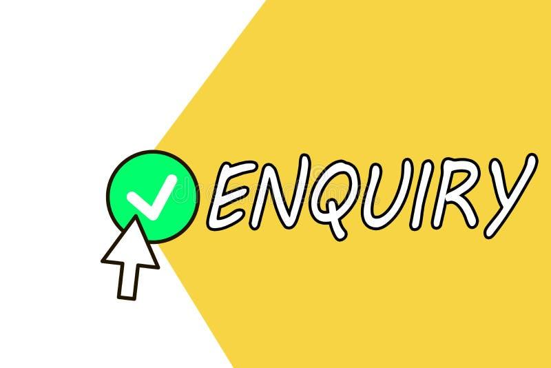 Begreppsmässig förfrågning för handhandstilvisning Affärsfototext som frågar för officiell utredning för information, upptäcker vektor illustrationer