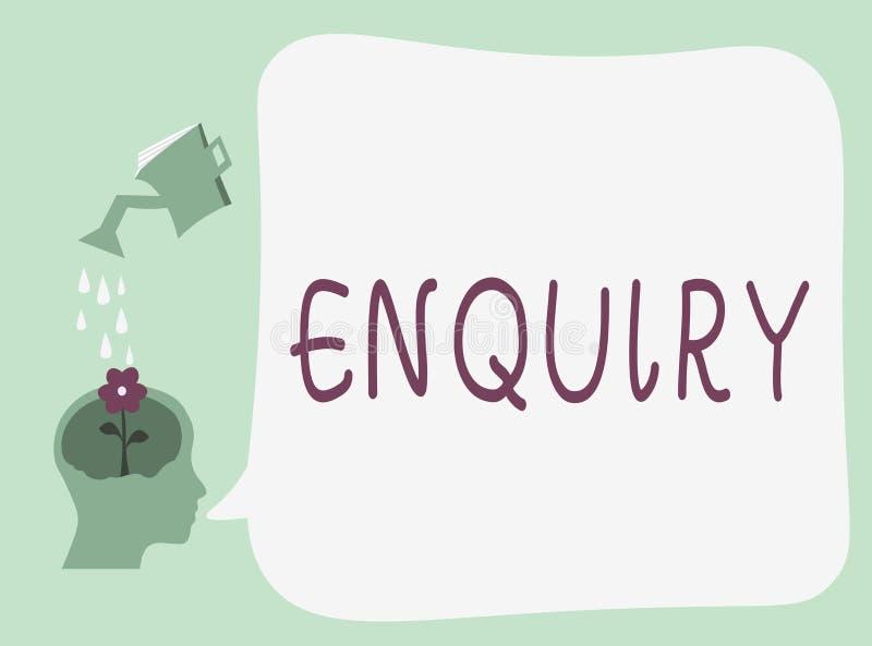 Begreppsmässig förfrågning för handhandstilvisning Affärsfototext som frågar för officiell utredning för information, upptäcker royaltyfri illustrationer
