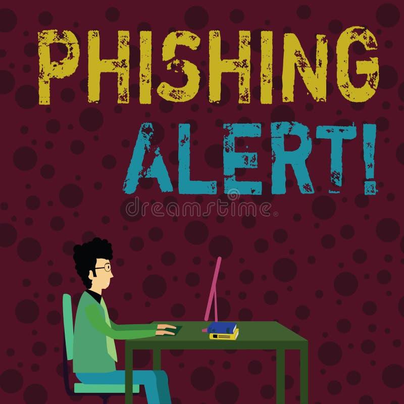 Begreppsmässig hand som skriver visa den Phishing varningen Plats för besök för användare för affärsfototext direkt var de vektor illustrationer