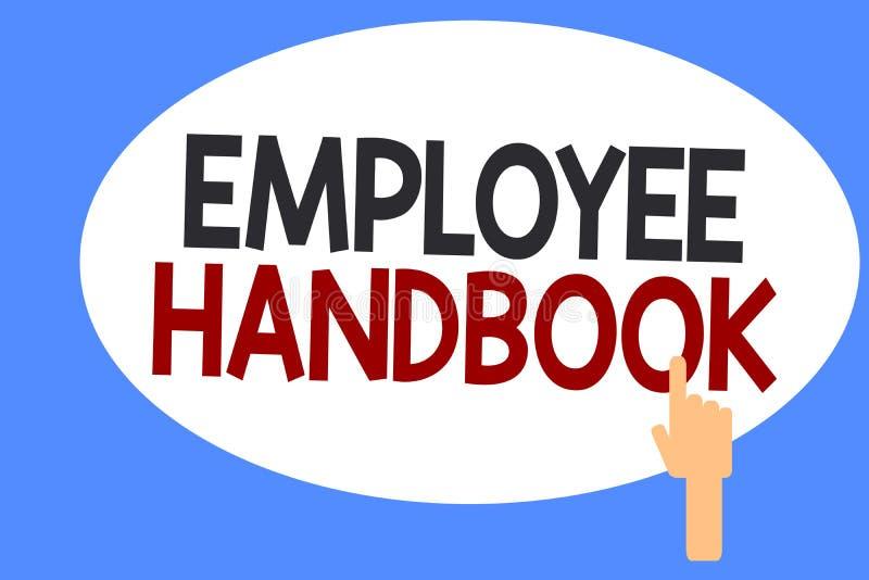 Begreppsmässig handbok för anställd för handhandstilvisning Affärsfoto som ställer ut dokumentet som innehåller fungeringstillväg stock illustrationer