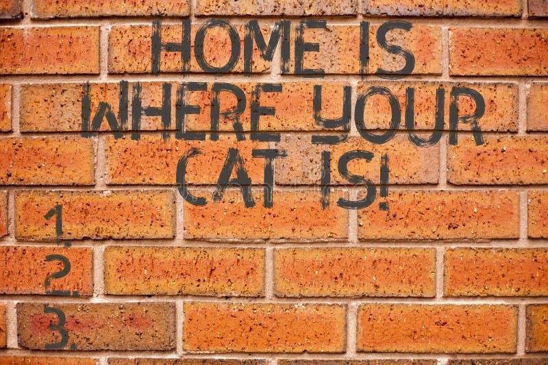 Begreppsmässig handhandstil som hem visar, är var din Cat Is Affärsfoto som ställer ut katt- skydd för kattungevänner royaltyfri foto