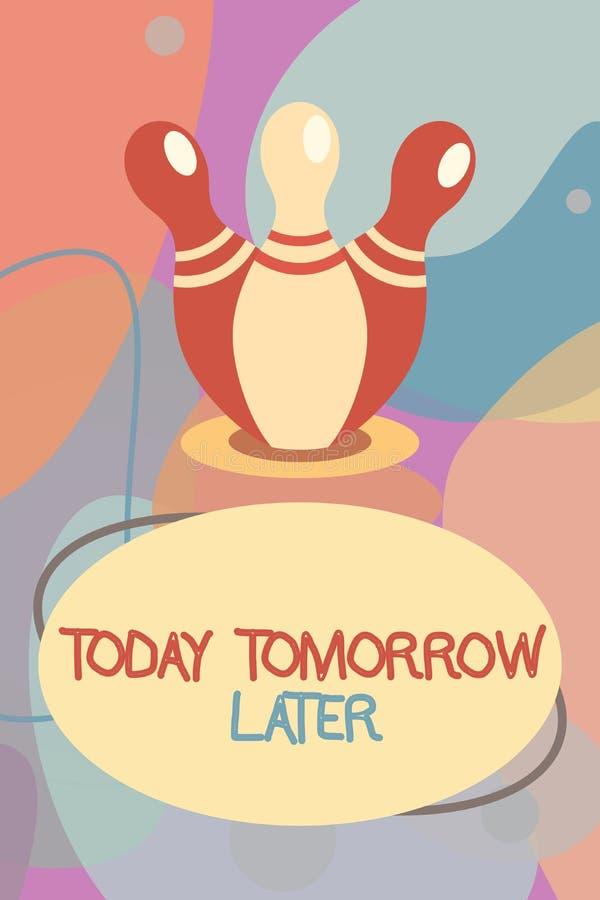 Begreppsmässig handhandstil som i dag i morgon senare visar Framtid för affärsfototext just nu för närvarande snart därefter stock illustrationer