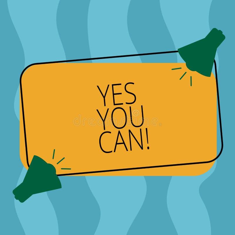 Begreppsmässig handhandstil som ja visar dig kan Affärsfotoet som ställer ut Positivityuppmuntran, övertalar utmaningförtroende f stock illustrationer