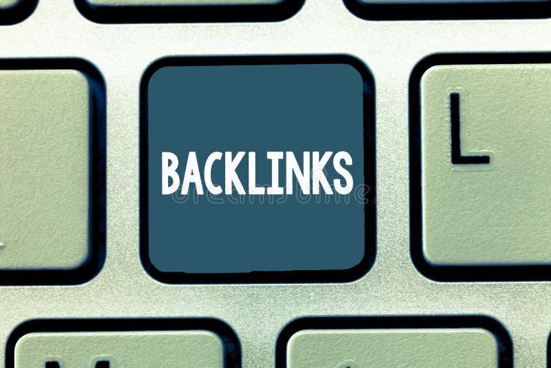 Begreppsmässig handhandstil som visar Backlinks Affärsfoto som ställer ut inkommande hyperlink från en webbsida till ett annat st royaltyfri illustrationer