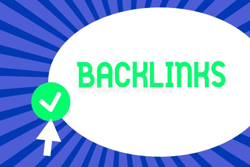 Begreppsmässig handhandstil som visar Backlinks Inkommande hyperlink för affärsfototext från en webbsida till en annan stor websi stock illustrationer