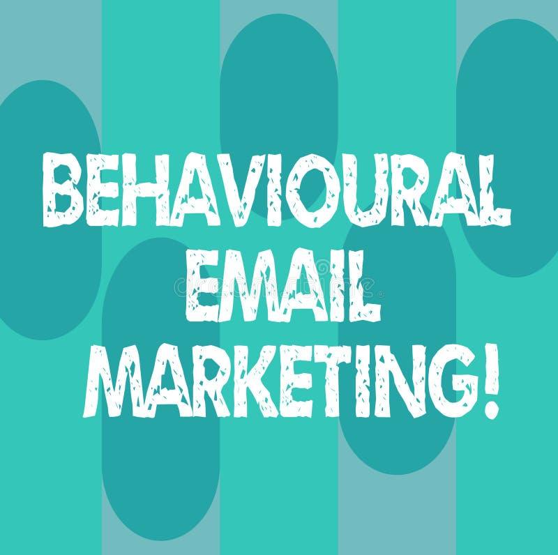 Begreppsmässig handhandstil som visar beteende- Emailmarknadsföring Affärsfoto som ställer ut den customercentric avtryckaregrund royaltyfri illustrationer