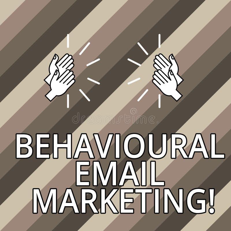 Begreppsmässig handhandstil som visar beteende- Emailmarknadsföring Messaging för grund för avtryckare för affärsfototext custome vektor illustrationer