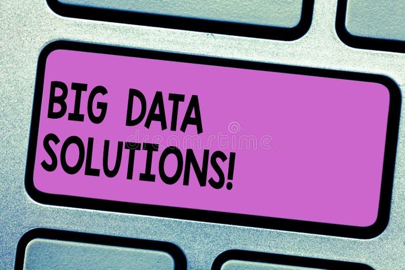 Begreppsmässig handhandstil som visar Big Data lösningar Affärsfototext att betyda massiv volym av strukturerade båda arkivfoto