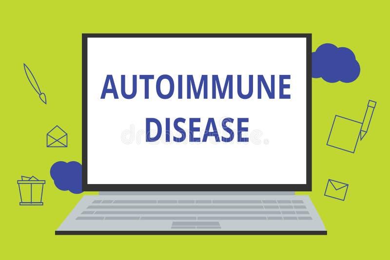 Begreppsmässig handhandstil som visar den Autoimmune sjukdomen Affärsfoto som ställer ut ovanliga antikropper som uppsätta som må stock illustrationer