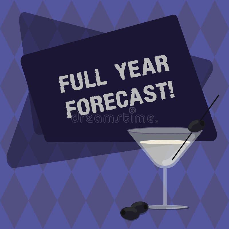 Begreppsmässig handhandstil som visar den fulla bedömningen för text för foto för årsprognosaffär av aktuell finansiell perforana stock illustrationer
