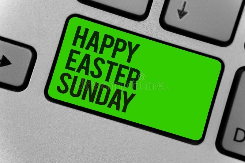 Begreppsmässig handhandstil som visar den lyckliga påsken söndag Affärsfotoet som ställer ut hälsning någon om ferievåren, är kom vektor illustrationer