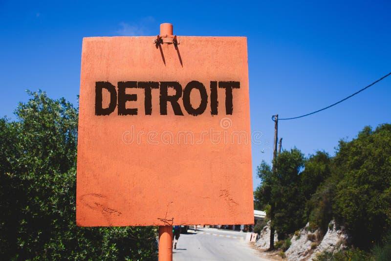 Begreppsmässig handhandstil som visar Detroit Stad för affärsfototext i Amerikas förenta staterhuvudstaden av Michigan Motown Woo arkivfoto