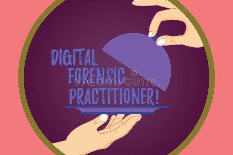 Begreppsmässig handhandstil som visar Digital den rättsmedicinska praktiker Affärsfoto som ställer ut specialisten, i att utforsk royaltyfri illustrationer
