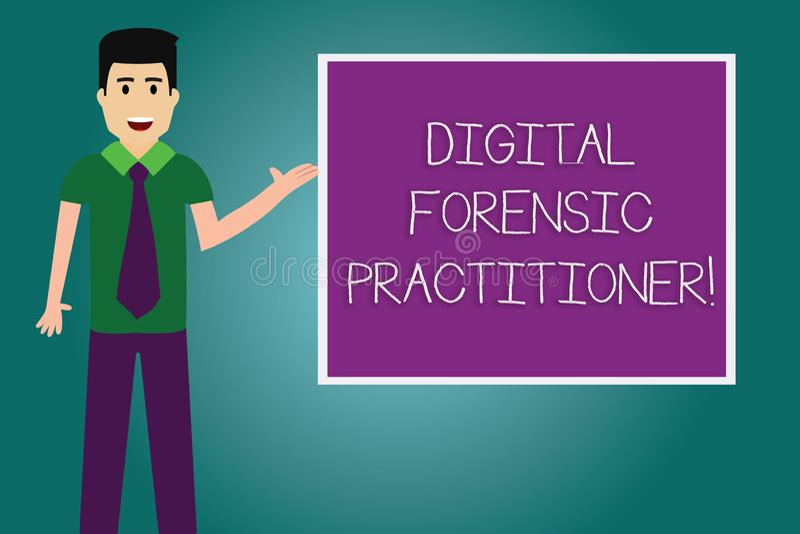 Begreppsmässig handhandstil som visar Digital den rättsmedicinska praktiker Affärsfoto som ställer ut specialisten, i att utforsk vektor illustrationer