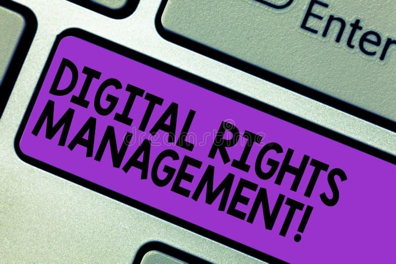 Begreppsmässig handhandstil som visar Digital Rights Management Inställning för affärsfototext som tar copyright på skydd för dig vektor illustrationer
