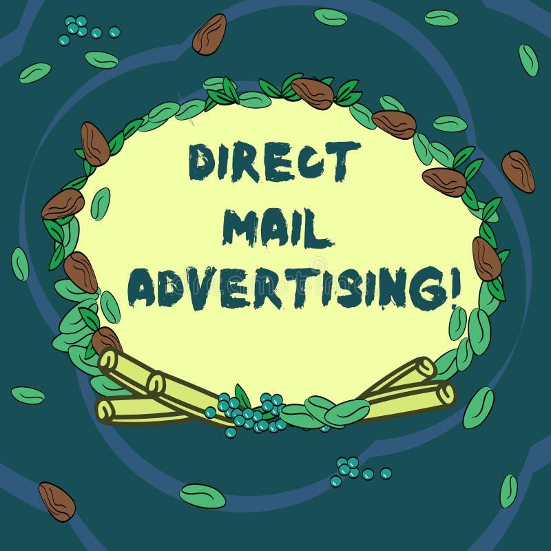 Begreppsmässig handhandstil som visar direkt post som annonserar Affärsfototext att leverera marknadsföringsmaterial till kliente royaltyfri illustrationer