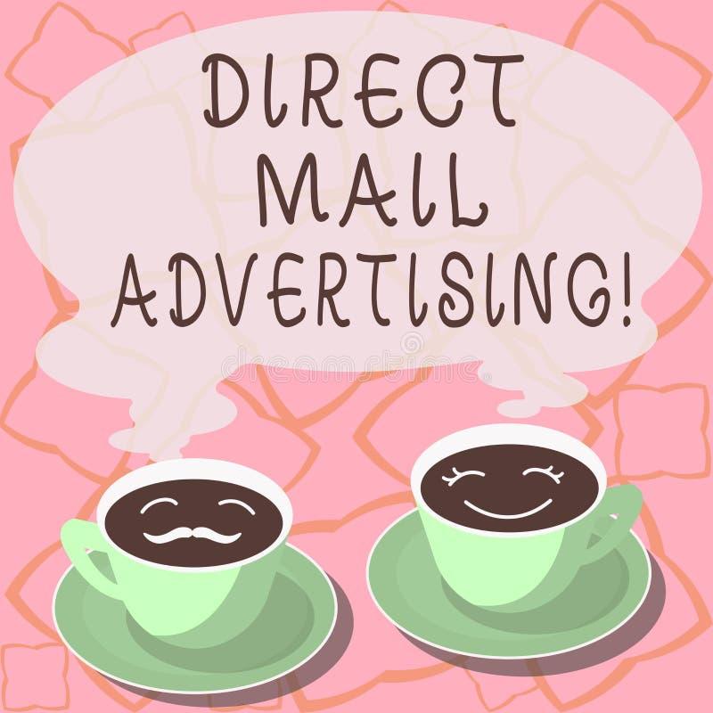 Begreppsmässig handhandstil som visar direkt post som annonserar Att ställa ut för affärsfoto levererar marknadsföringsmaterial t royaltyfri illustrationer