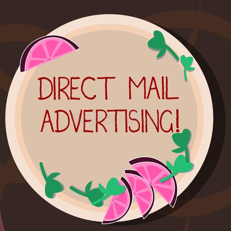 Begreppsmässig handhandstil som visar direkt post som annonserar Att ställa ut för affärsfoto levererar marknadsföringsmaterial t stock illustrationer