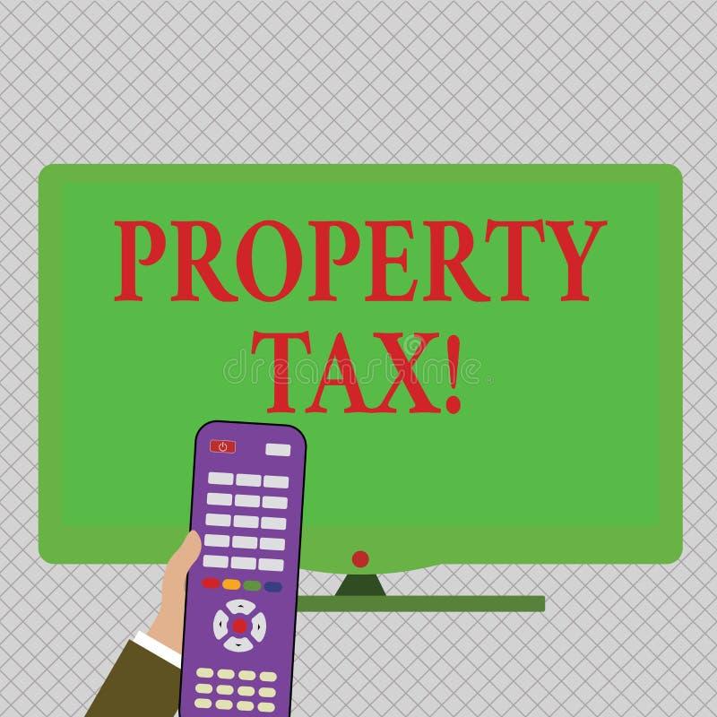 Begreppsmässig handhandstil som visar fastighetsskatt Räkningar för affärsfototext som uttaxeras direkt på din egenskap av regeri vektor illustrationer
