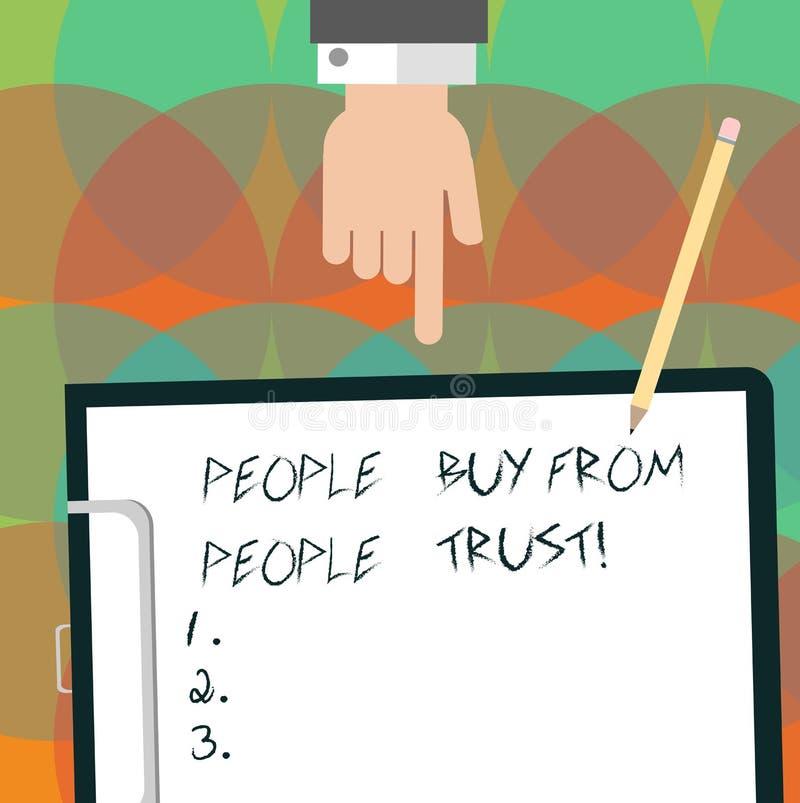 Begreppsmässig handhandstil som visar folk för att köpa från folk litar på de, förtroende och kundtillfredsställelse Hu för byggn royaltyfri foto