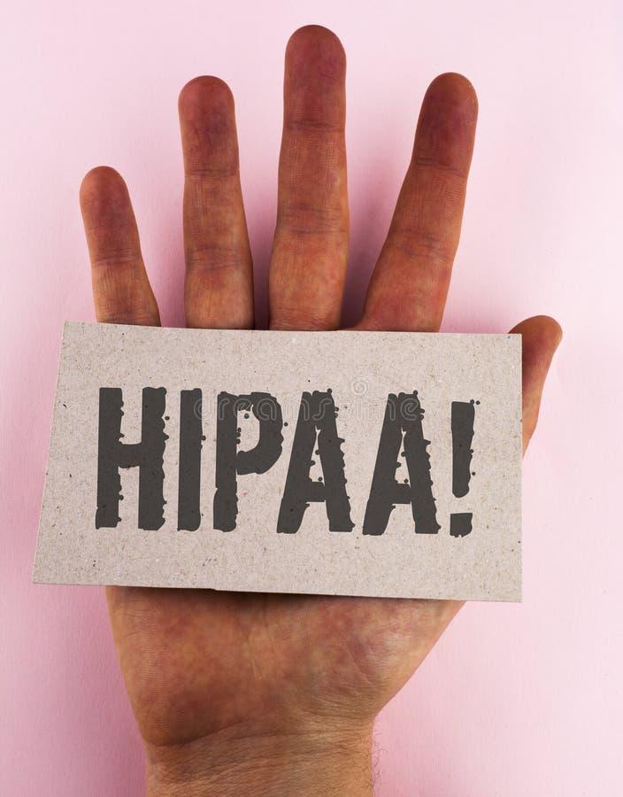 Begreppsmässig handhandstil som visar Hipaa Motivational appell Portability och ansvarighet för sjukförsäkring för affärsfototext arkivbilder
