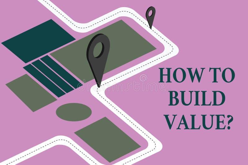 Begreppsmässig handhandstil som visar hur man bygger Valuequestion Affärsfoto som ställer ut strategier för att få för utveckling stock illustrationer