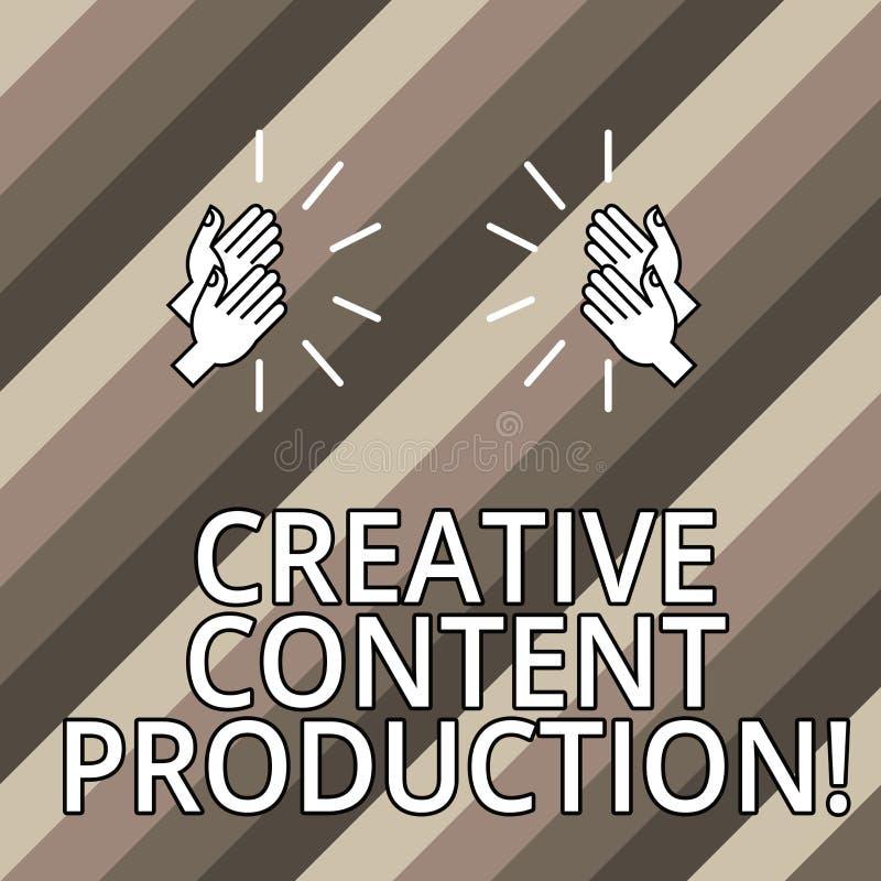 Begreppsmässig handhandstil som visar idérik nöjd produktion Affärsfototext som framkallar och skapar visuella eller skriftliga t royaltyfri illustrationer
