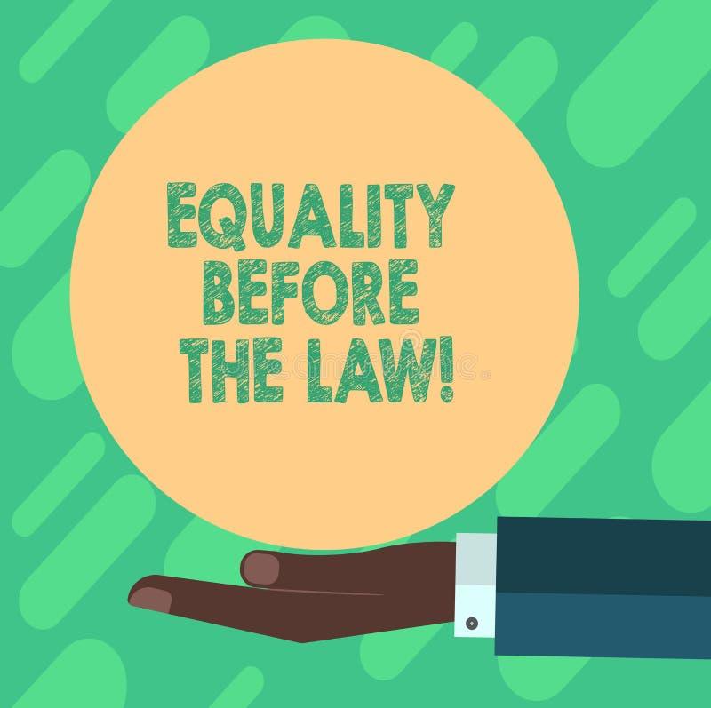 Begreppsmässig handhandstil som visar jämställdhet för lagen Affärsfoto som ställer ut jämbördiga rätter för rättvisajämviktsskyd stock illustrationer