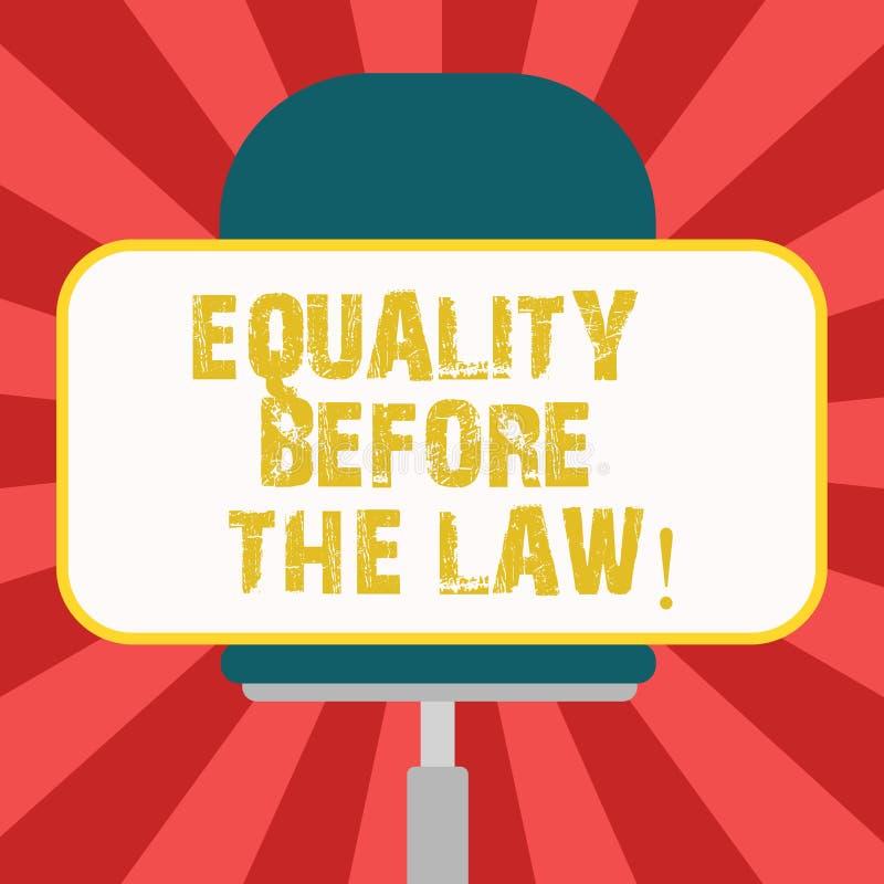 Begreppsmässig handhandstil som visar jämställdhet för lagen Affärsfoto som ställer ut jämbördiga rätter för rättvisajämviktsskyd royaltyfri illustrationer