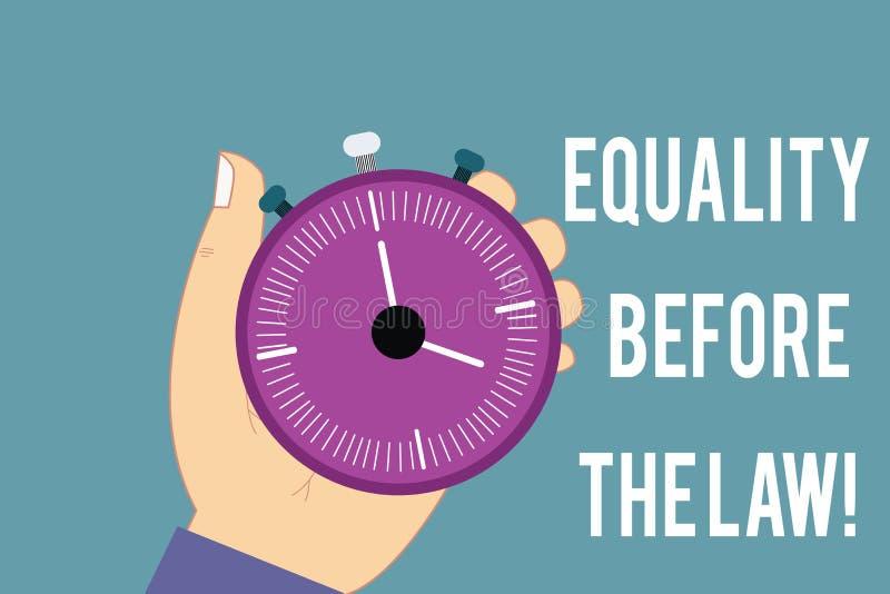 Begreppsmässig handhandstil som visar jämställdhet för lagen Rätter för skydd för jämvikt för rättvisa för affärsfototext jämbörd royaltyfri illustrationer