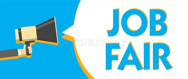 Begreppsmässig handhandstil som visar Job Fair Affärsfototext en händelse var en person kan applicera för ett jobb i åtskillig fö stock illustrationer