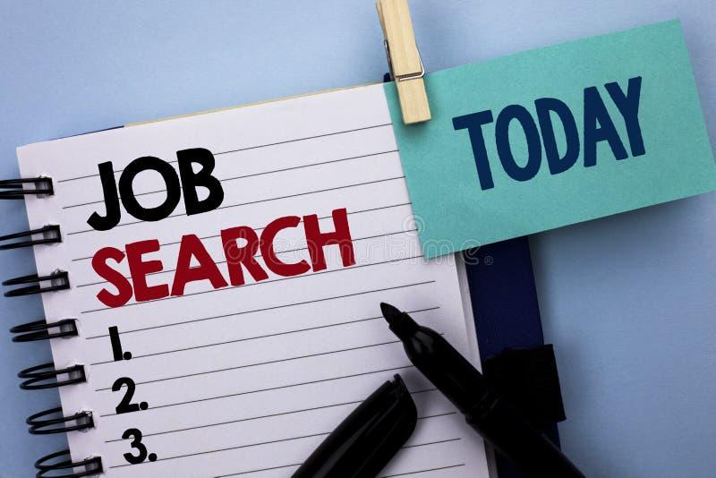 Begreppsmässig handhandstil som visar Job Search Wri för rekryt för rekrytering för anställning för tillfälle för vakans för karr arkivfoton