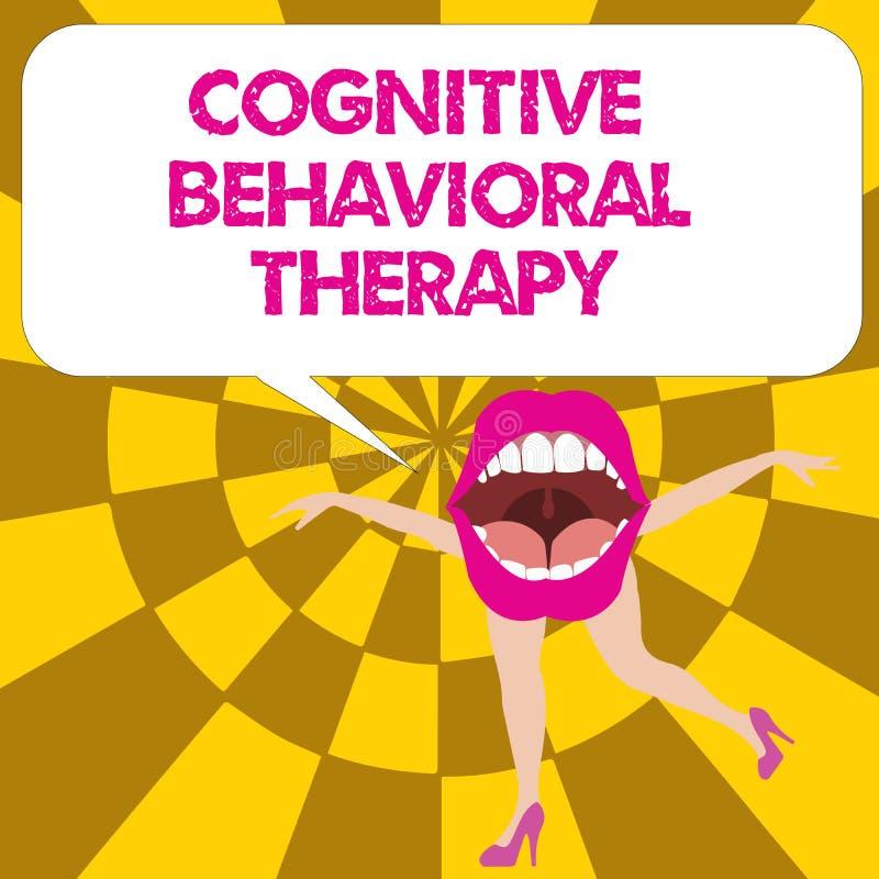 Begreppsmässig handhandstil som visar kognitiv beteende- terapi Psykologisk behandling för affärsfototext för psykiska störningar stock illustrationer
