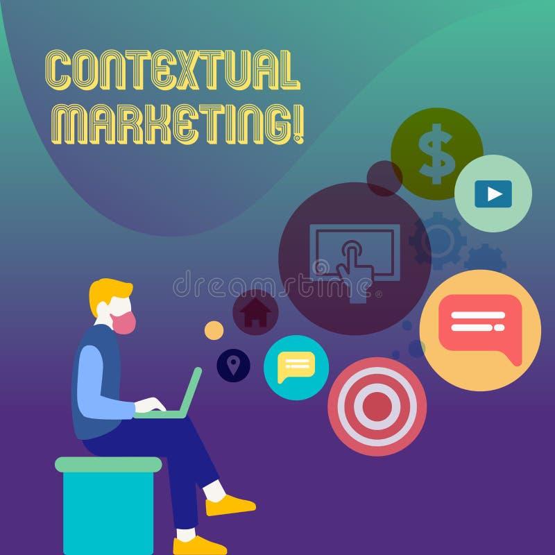 Begreppsmässig handhandstil som visar kontextuell marknadsföring Affärsfototext direktanslutet och beteende- mobil marknadsföring royaltyfri illustrationer