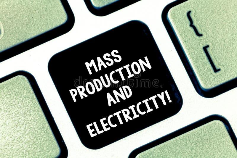 Begreppsmässig handhandstil som visar massproduktion och elektricitet Tillförsel för elström för affärsfototext industriell arkivbilder