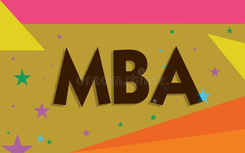 Begreppsmässig handhandstil som visar Mba Avancerad grad för affärsfototext i affärsfält liksom administration och stock illustrationer