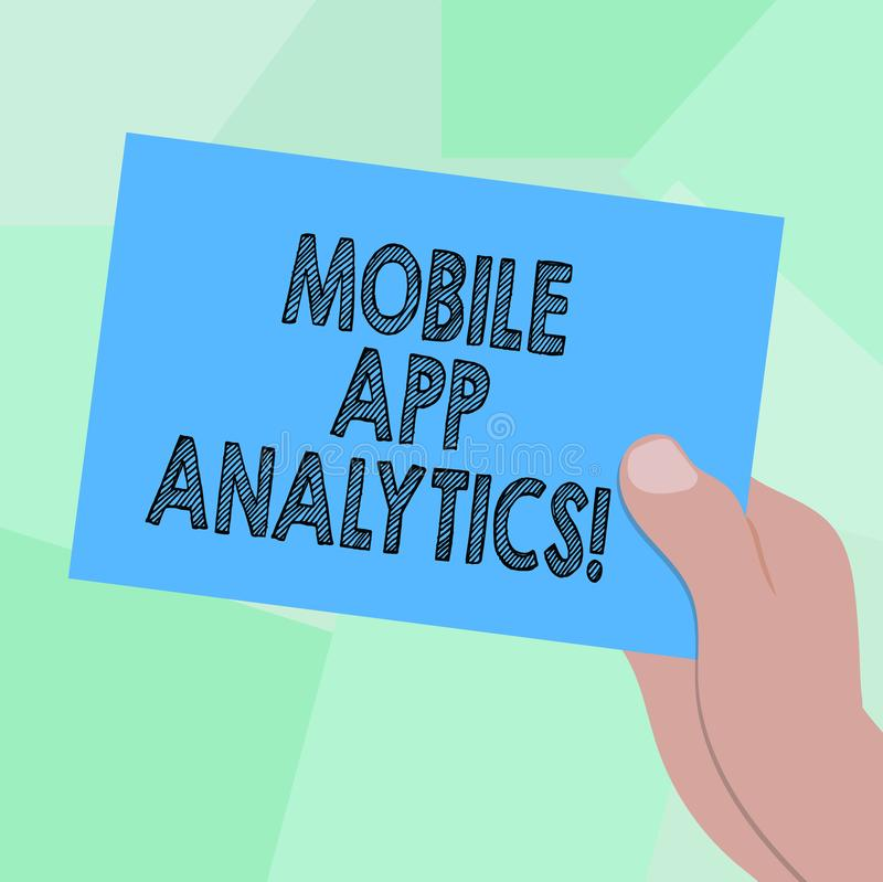 Begreppsmässig handhandstil som visar mobil AppAnalytics Affärsfoto som ställer ut Apps som analyserar data som förbi frambrings royaltyfri illustrationer