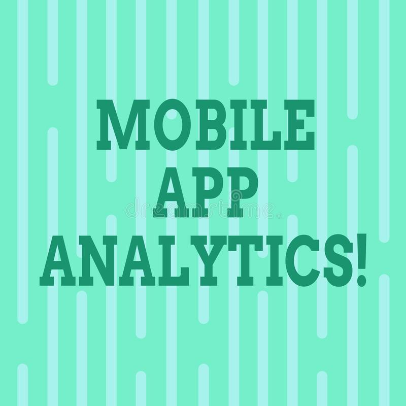 Begreppsmässig handhandstil som visar mobil AppAnalytics Apps för affärsfototext som analyserar data som frambrings av mobila pla royaltyfri illustrationer