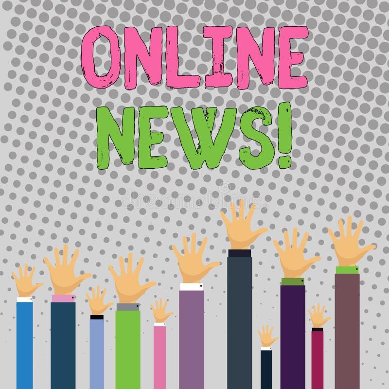 Begreppsmässig handhandstil som visar online-nyheterna Affärsfototext mottog nyligen eller anmärkningsvärd information om händels stock illustrationer