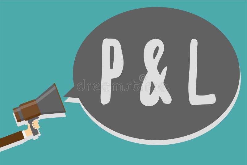 Begreppsmässig handhandstil som visar P och L Primära bokföringsunderlag för affärsfototext som bedömer finansiella företag stock illustrationer