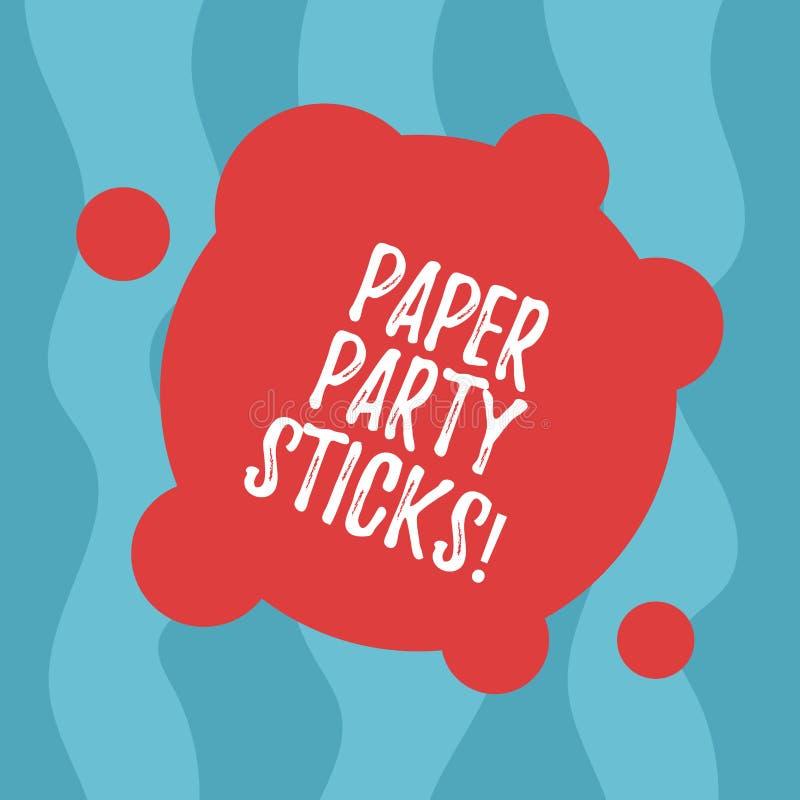 Begreppsmässig handhandstil som visar pappers- partipinnar Affärsfototext färgade former av hårt papper som användes för att skap stock illustrationer