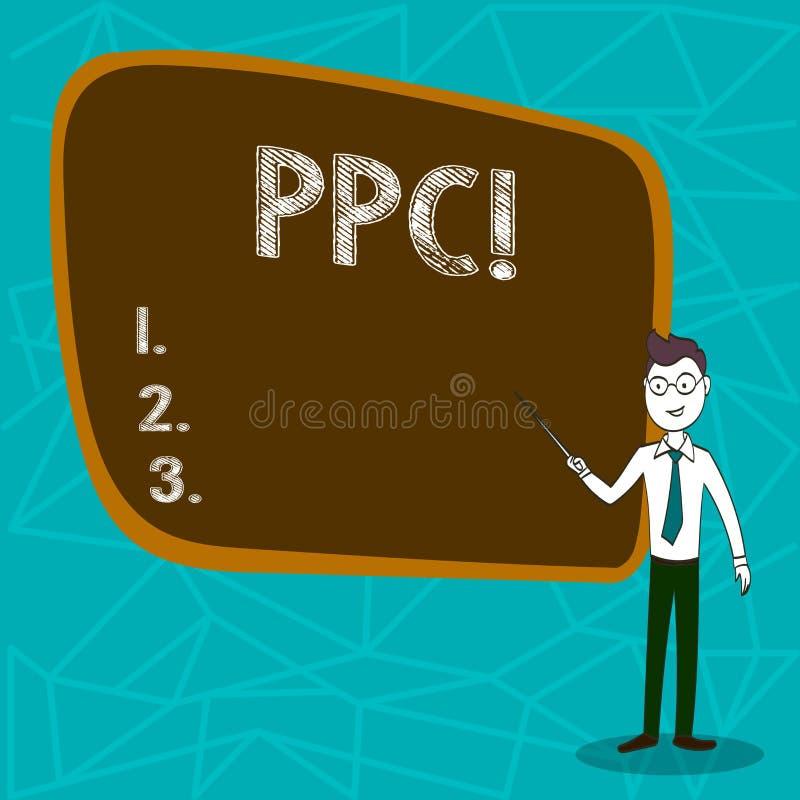 Begreppsmässig handhandstil som visar Ppc Affärsfoto som ställer ut lön per klicken som annonserar direkt trafik för strategier t stock illustrationer